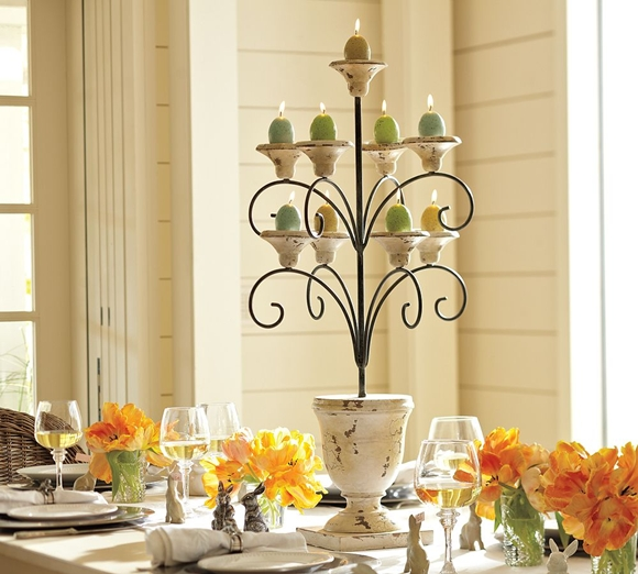 Bring the warm colors of fall into your home with these beautiful and simple decorating projects. A smart mix of green tones, white, and flashes of fall color make this centerpiece feel like a fresh, modern cornucopia. Simple and rustic, this quick-to-make arrangement delivers what Southern Living.