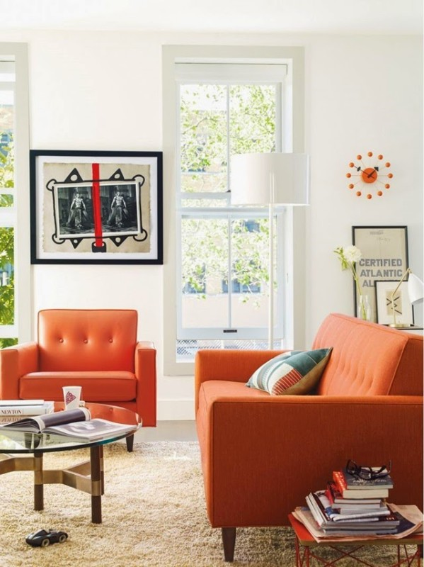 Living room with an orange sofa daily dream decor for Orange sofa living room ideas