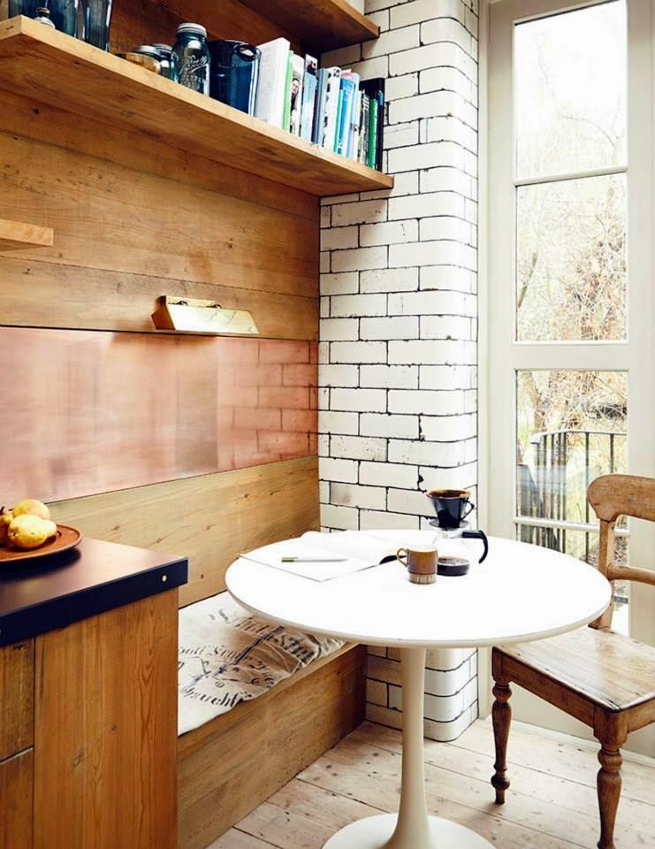 Kitchen With White Brick Walls