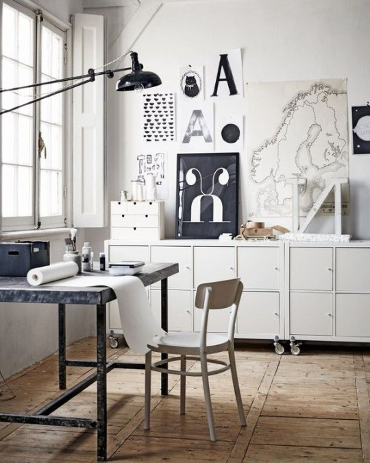 workspace with amazing gallery wall