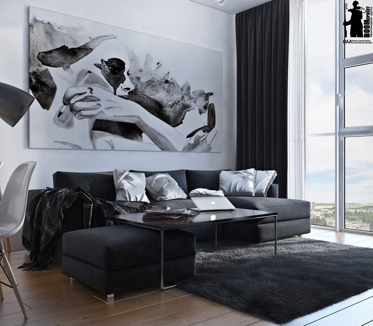 Decorating With Black White: Small Artsy Monochromatic Loft With A Luxe Vibe