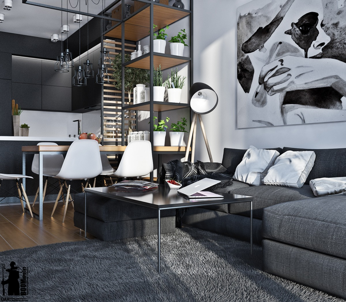 Small Artsy Monochromatic Loft With A Luxe Vibe Daily