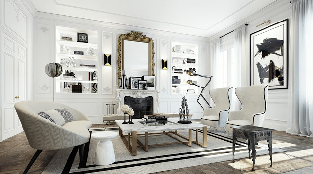 Posh White Apartment With Black Gilded Accents