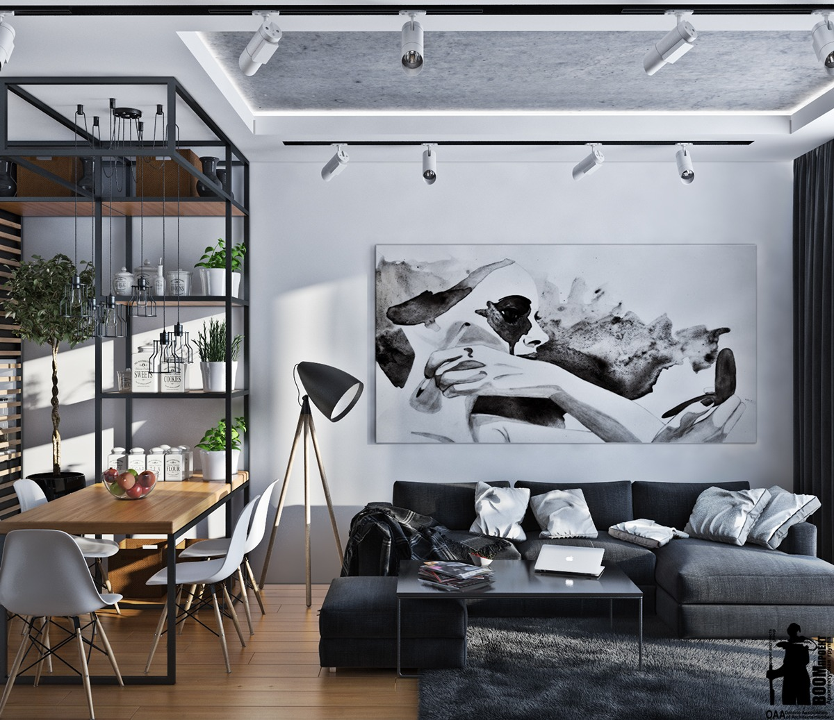 black-white-and-green-interior-design