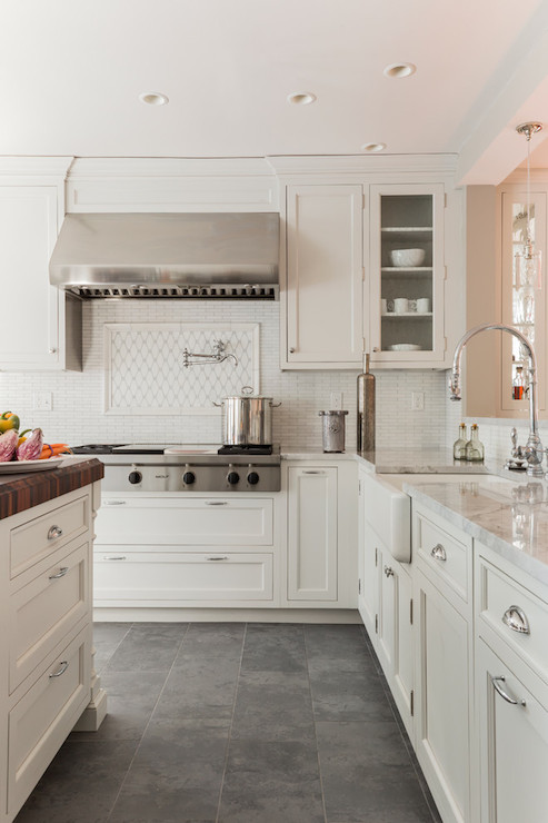 Three dreamy kitchen floor ideas daily dream decor for Slate kitchen floors with white cabinets