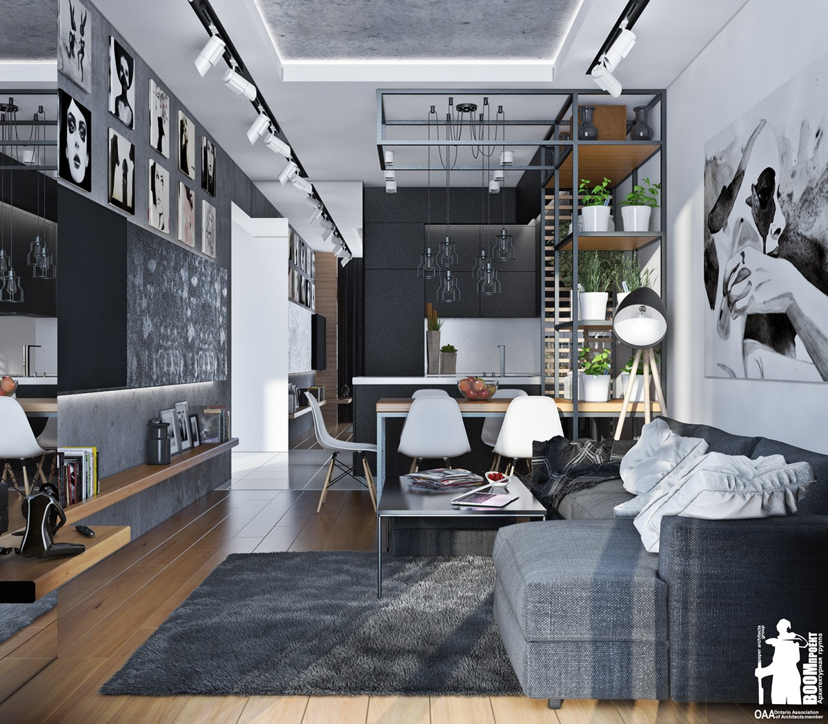 Lovely Monochromatic European Kitchen Design With Gray: Small Artsy Monochromatic Loft With A Luxe Vibe