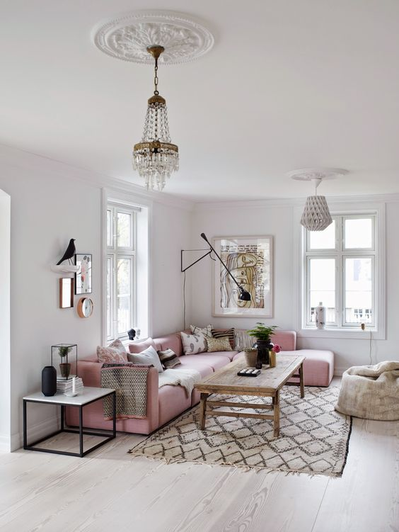 6 dreamy rose quartz sofas daily dream decor for Living room ideas rose gold