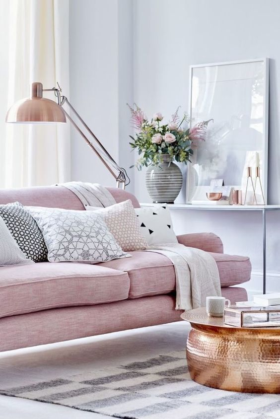 Rose Quatrz Sofa And Copper Details