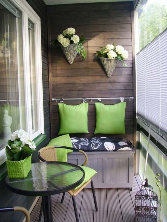 green and neutrals small balcony deco