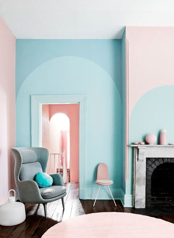 pink and blue furniture. pastel pink and blue interior cover furniture