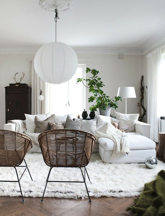 White Sofa In A Boho Living Room