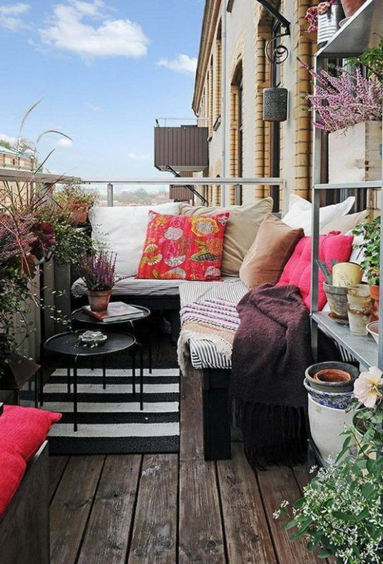 small colorful balcony