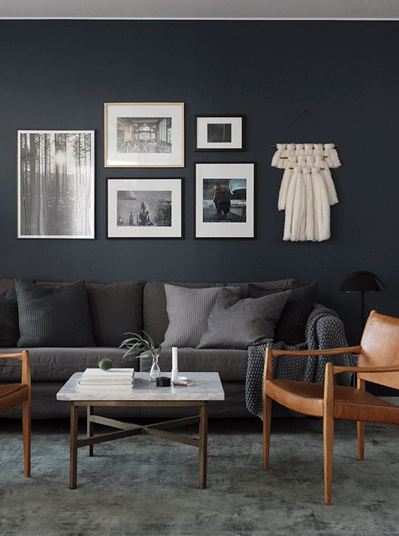 Dark Brown And Grey Living Room