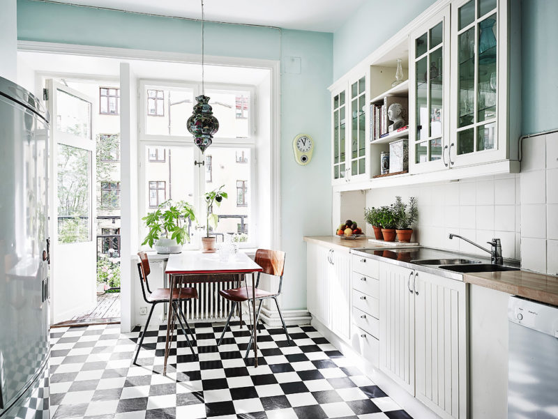 mint-kitchen-with-black-and-white-floor - Daily Dream Decor