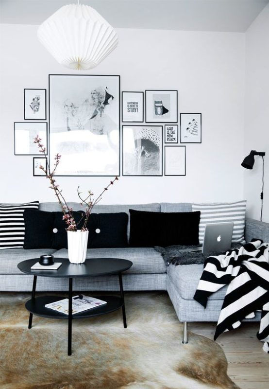 black and white stripes contemporary living room