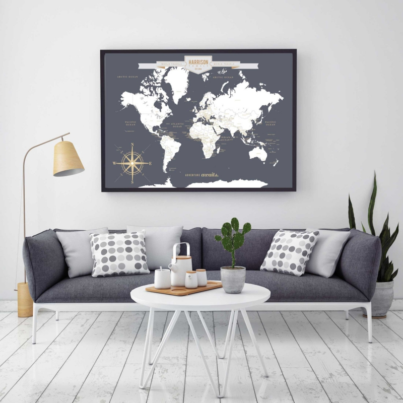 Pushpintravelmapworldtravelsmapmapartworldmapcanvas - Grey world map canvas