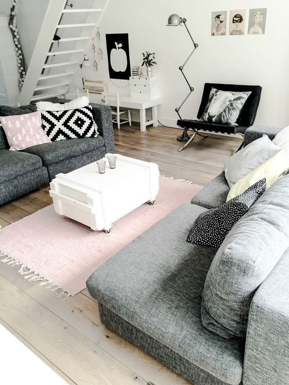 9 gorgeous white grey and pink interiors that make you for Living room ideas pink and grey