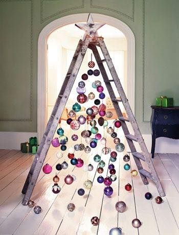 7 reason that ladders are the coolest thing to decorate this christmas - Christmas Tree Ladder Decoration