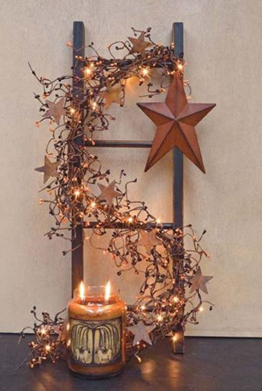 small ladder deco lights 2 - Christmas Ladder Decor