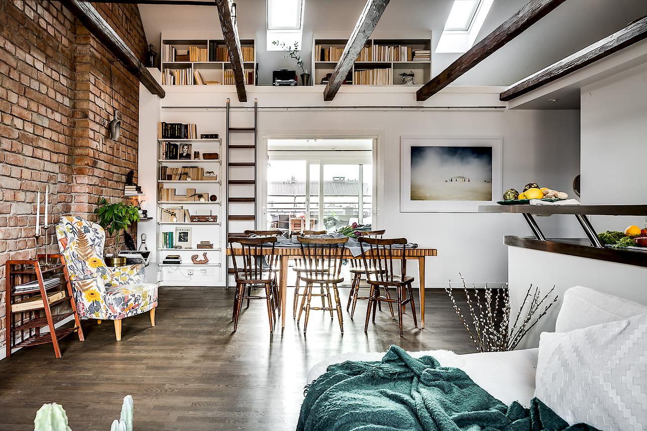 brick wall attic apartment ...