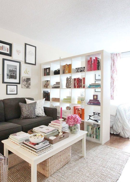Superb Next To A Booksheld Bedroom Tiny Apartment