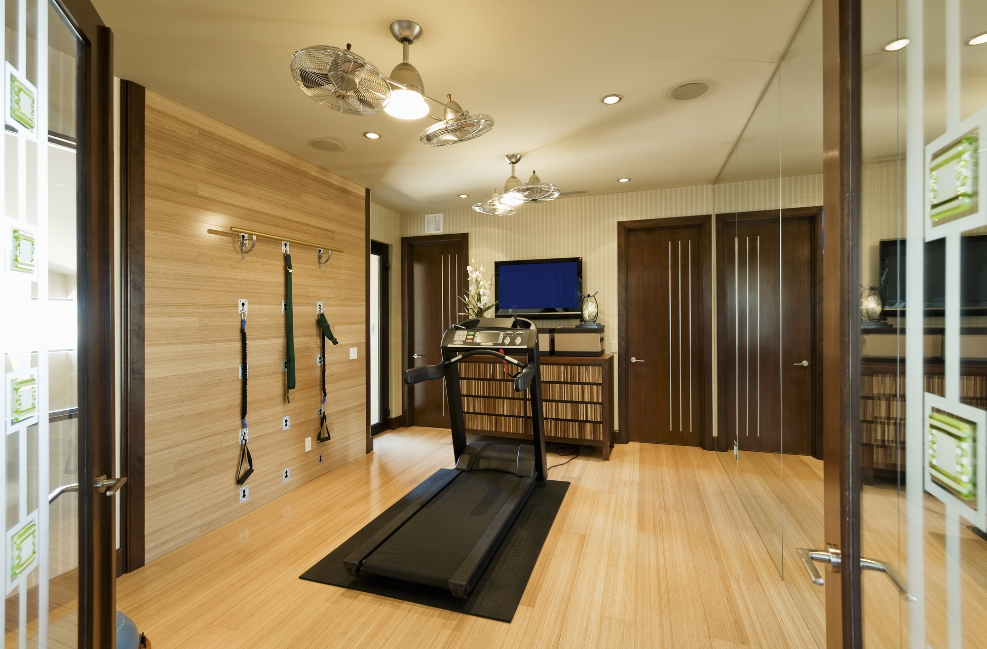 snug harbor a huge mirror soft gray walls soft gray carpet and recessed lighting create a cozy place to get in shape while a mounted tv and modern