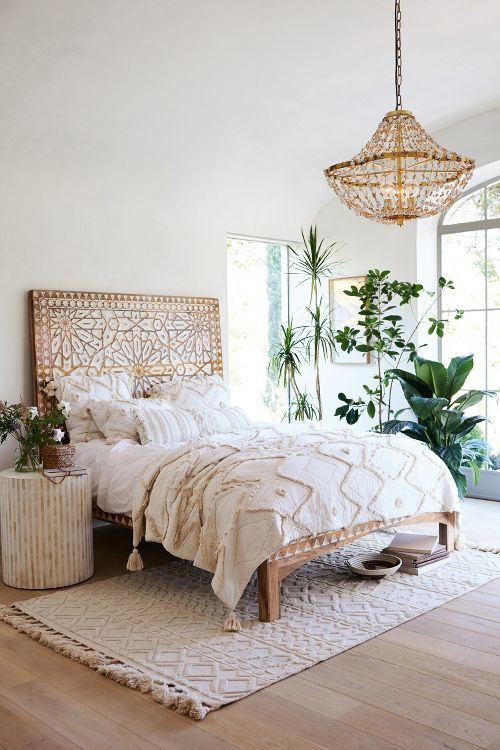 Bohemian Room By Matching A Golden Chandelier With The Bed Headboard And Also Adding White Sheets