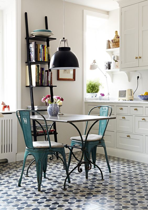 match it with bistro or industrial chairs a small table and a vase with fresh flowers