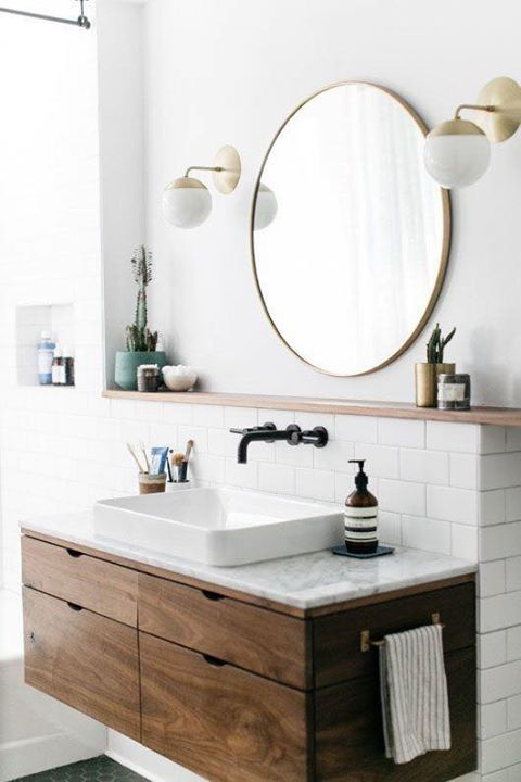 ... They Help Break Up The Rigid Symmetry Present In Many Modern Pieces Of  Decor. Putting A Round Mirror Above Your Vanity Can Help To Give Your  Bathroom A ...