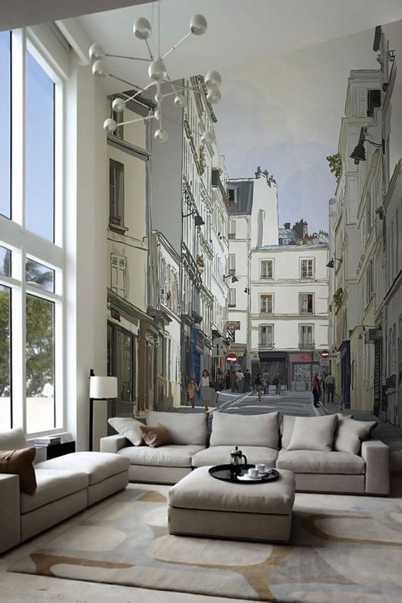 ... Wall Mural Next To Your Comfy Sofa. You Can Imagine Youu0027re In A Chic  Street In The Lovely Paris, Serving A Great Coffee, So Make Sure You Add A  Stylish ...