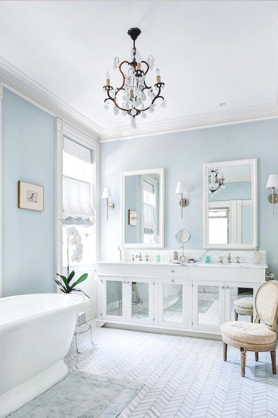 7 splendid light blue interiors that prove this is the new for Light blue bathroom decor