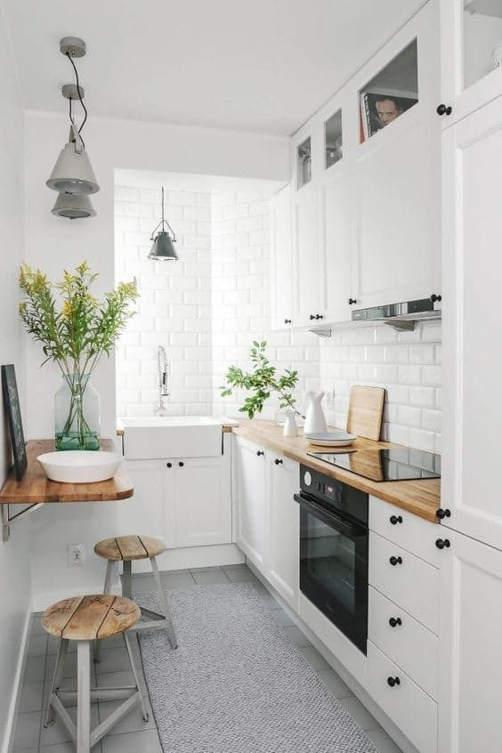 7 space saving solutions for small kitchens daily dream for Small narrow kitchen designs