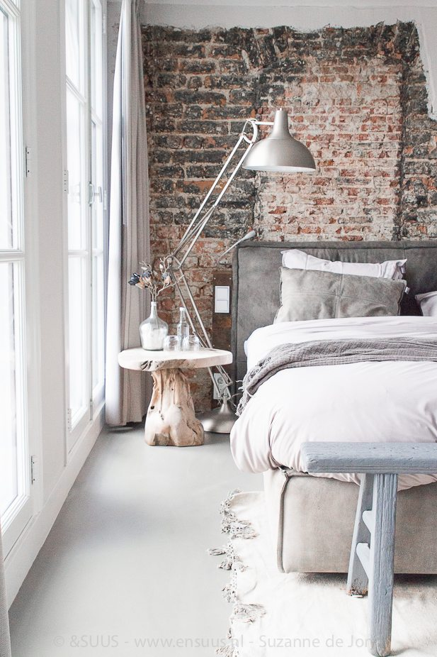 Moreover, Combine Bricks With Shiny Metallic Elements And Neutral Objects  For A Cool Relaxed Industrial Bedroom.