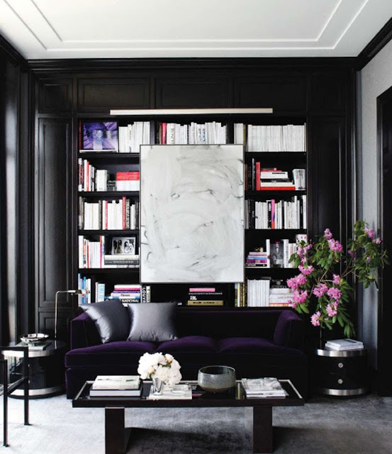 black-walls-living-room-dark-purple-sofa - Daily Dream Decor