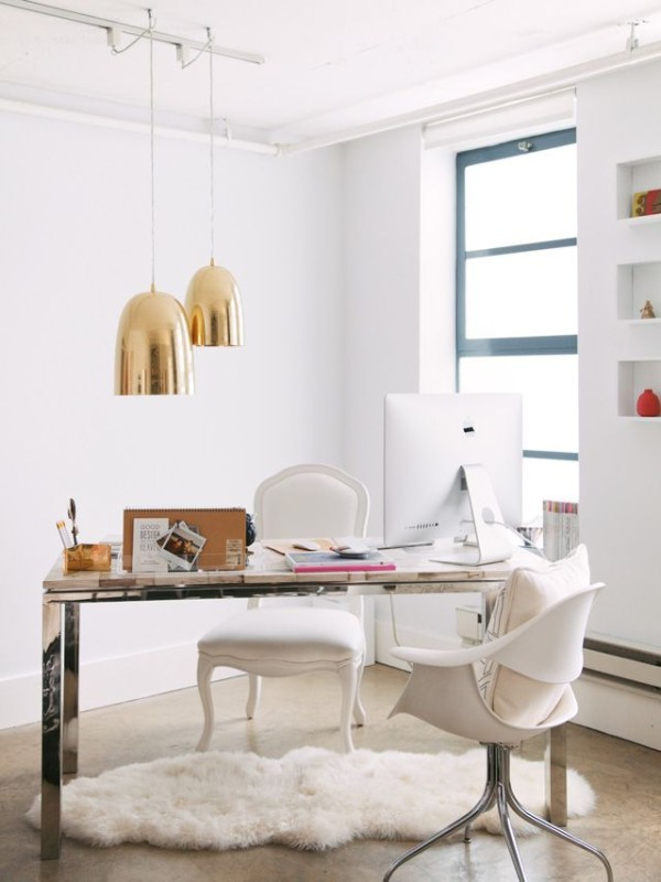 White Desk With Gold Accents