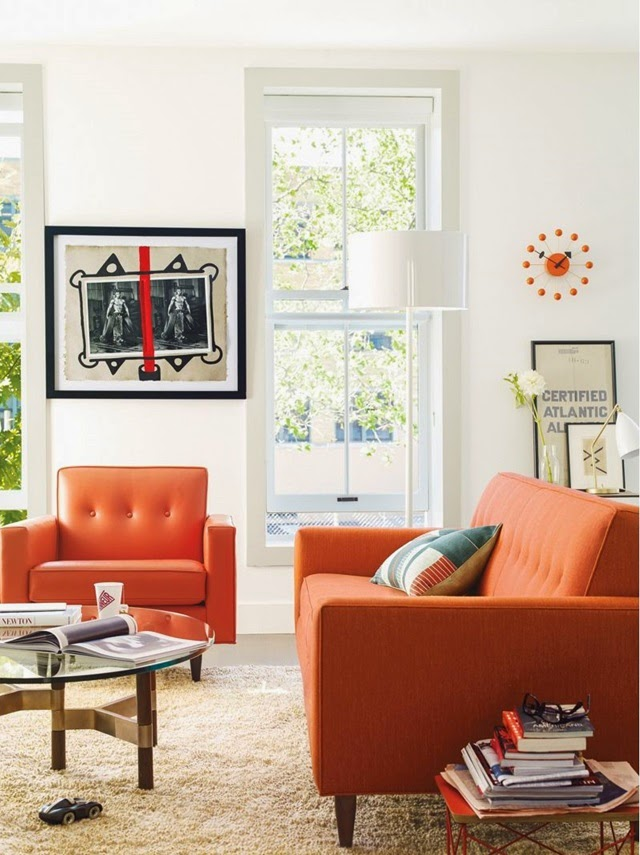 Living Room With An Orange Sofa Daily