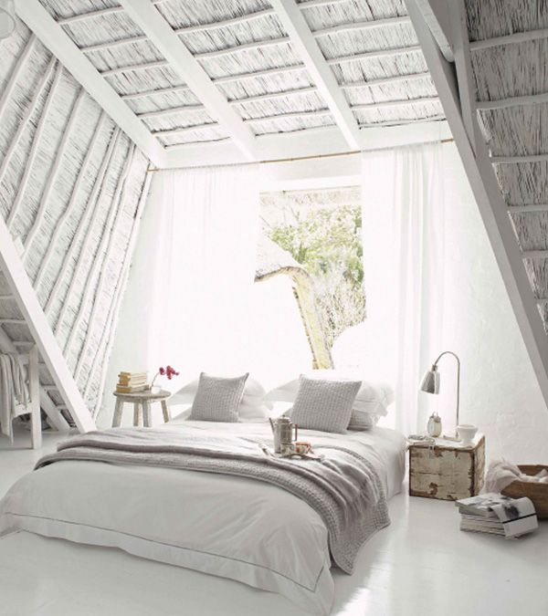 Dreamy All White Attic Bedroom