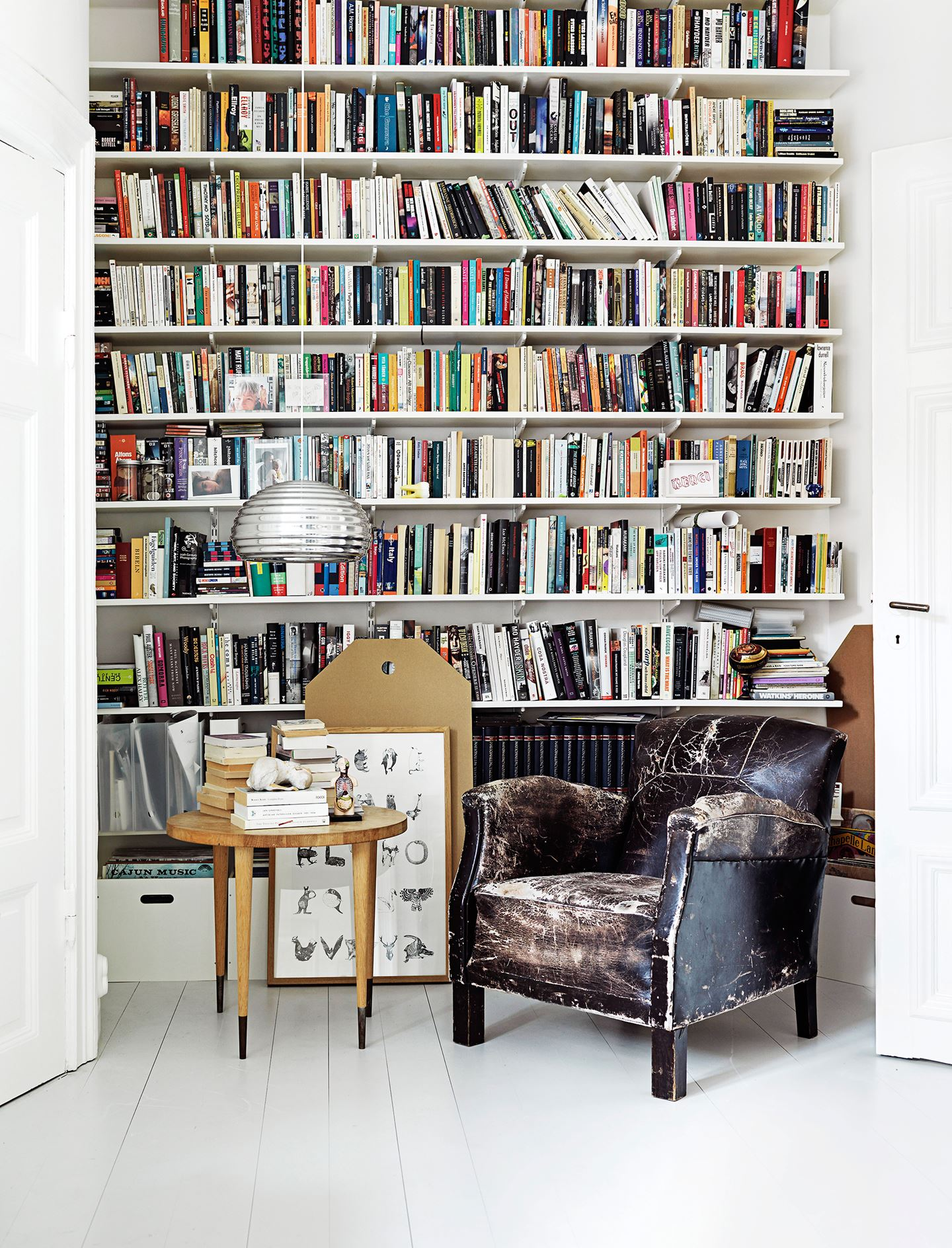 library with vintage arm chair