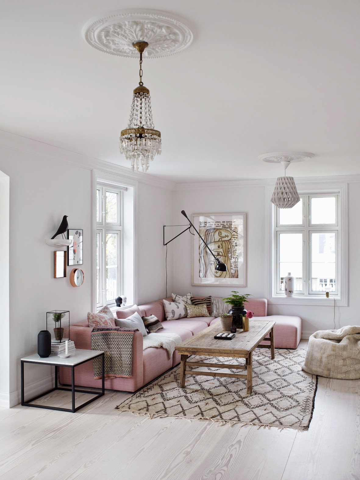 Lovely living room with rose quartz accents - Daily Dream ... on Living Room:5J0Grrq-Soy= Curtains Design  id=41090