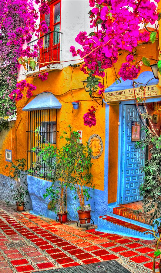 colorful street facade marabella spain