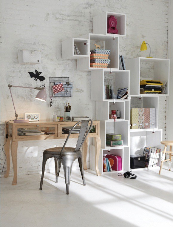 home office with cube organization