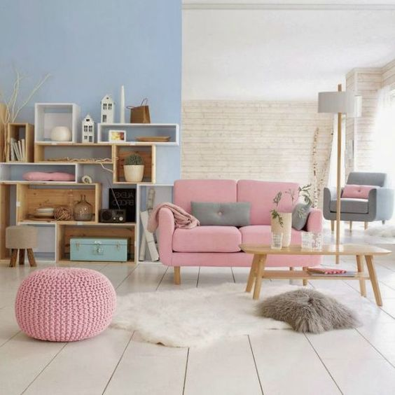 pastel room, rose quartza sofa