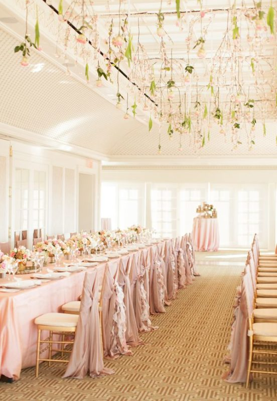 pink table wedding arrangement