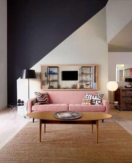 rose quartz sofa in elegant interior