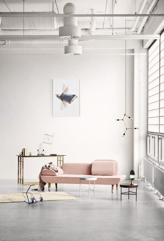 rose quartz sofa industrial interior