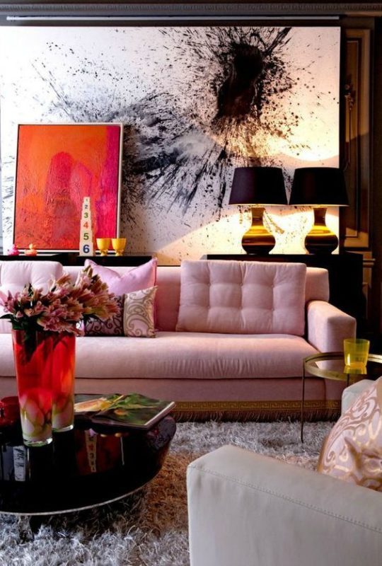 rose quartza sofa in eccentric interior