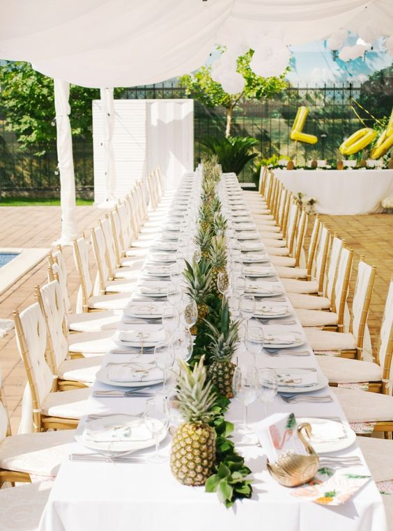 tropical wedding arrangement