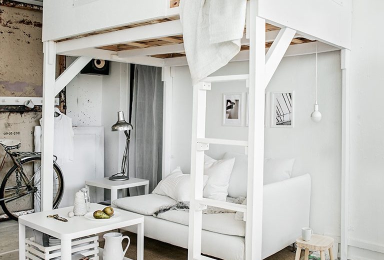 Stunning white Ikea living & sleeping area - Daily Dream Decor