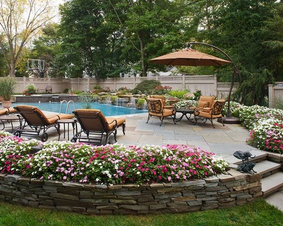 backyard pool and flowers