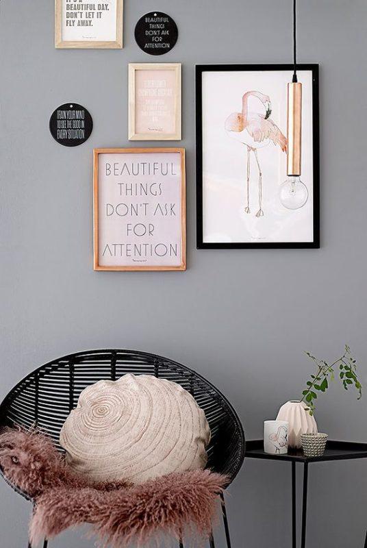 flamingo framed picture deco item